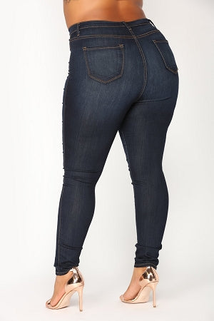 Dark Blue Classic High Waist Jeans
