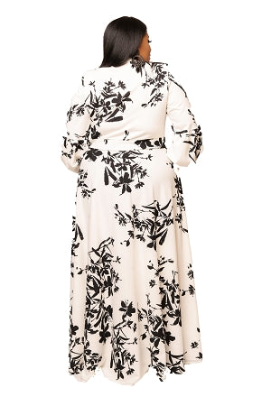 Cream Print Cleo Bow Tie Maxi Dress