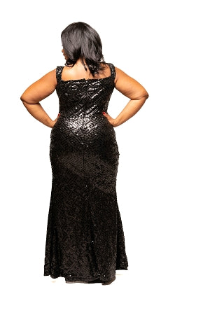Black Blaine Sequin Gown