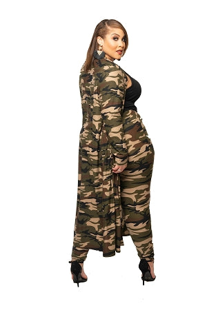 Green Camouflage Duster Set