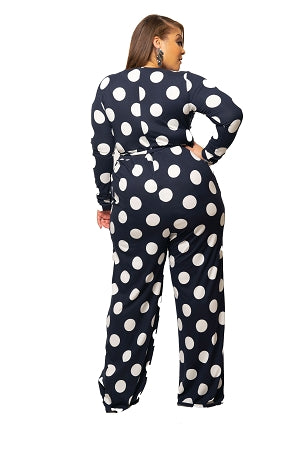 Navy Blue Polka Dot Sherry Jumpsuit