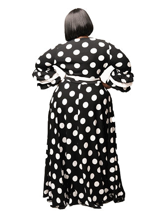 Black Brook Polka Dot Flare Dress