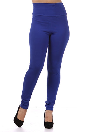 Royal Blue Cotton High Waist Leggings