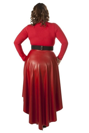 Red High-Low Faux Leather Skirt