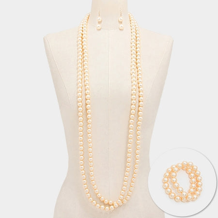 Extra Long Pearl Necklace Set