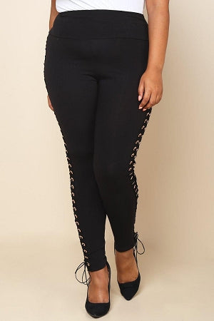 Black Side  Lace Up Leggings