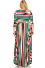 Green Candy Cane Gabby Belt Maxi Dress