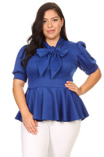 Royal Blue Garner Bow Tie Top