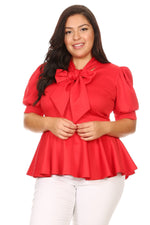 Red Garner Bow Tie Top