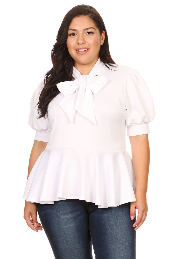 White Garner Bow Tie Top