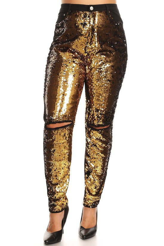 Gold Sequin Front Black Jeans