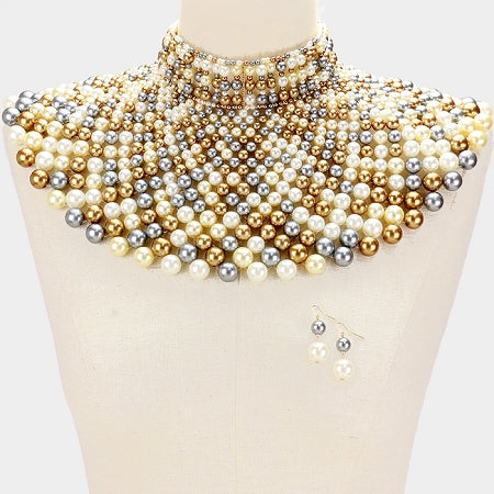 Multi Gold Pearl Armor Bib Necklace