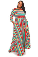 Extended Size Green Stripe Gabby Maxi Dress