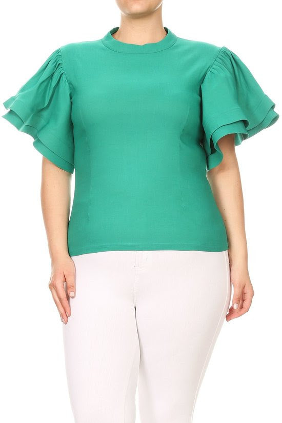 Green Thea Ruffle Shoulder Top