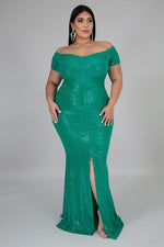 Green Ciara Metallic Gown