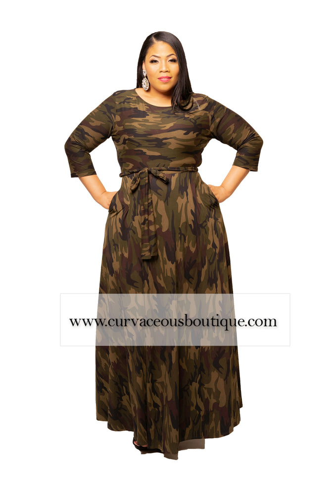 Dark Camouflage Gabby Maxi Dress