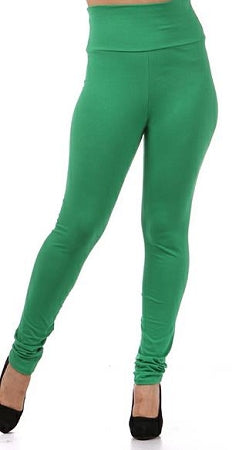 Green Cotton High Waist Leggings