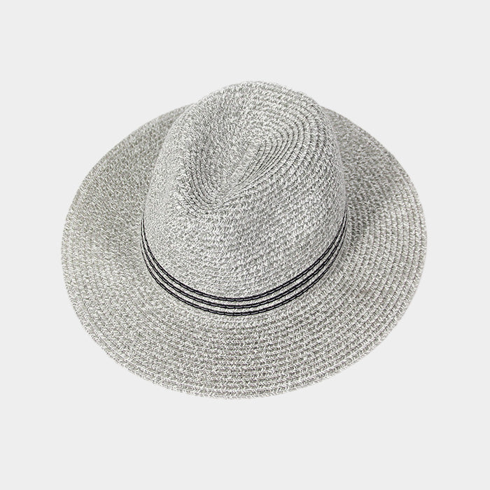 Grey Striped Straw Fedora Hat