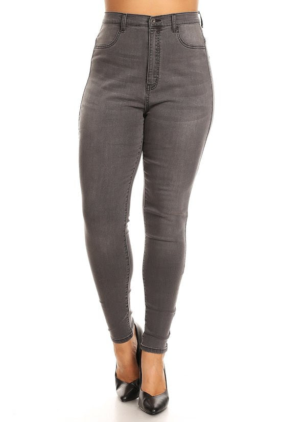 Grey Basic High Waist  jeans