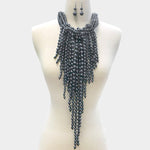 Grey Pearl Layered Fringe Necklace Set