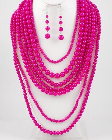 Hot Pink Pearl Necklace Set