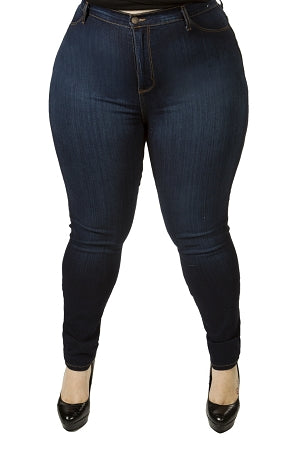 Dark Blue Wash High Waist Jeans