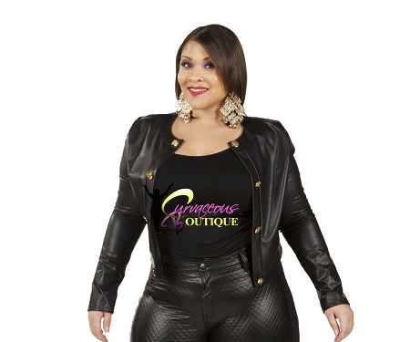 Black Push My Button Crop Jacket