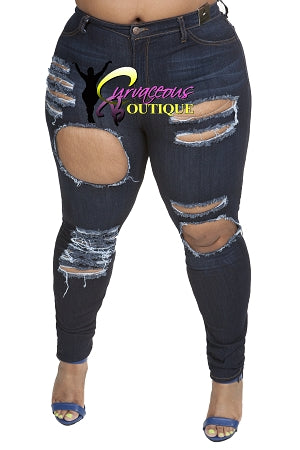 Blue Double Destroyed High Waist Jeans