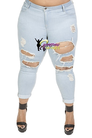 Light Blue Boyfriend Ankle Destroyed Jeans