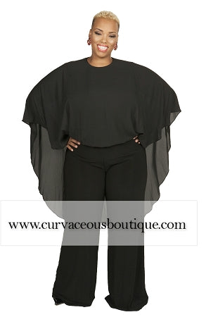 Camila Black Cape Jumpsuit