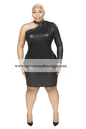 Black Faux Leather Single Life Dress