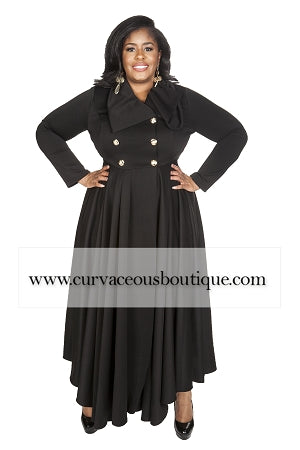 Esther Black  Double Breast Coat Dress