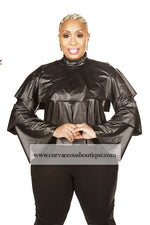 Black Tier Faux Leather Top