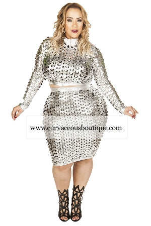 Silver Cali Punch-Out  Skirt Set