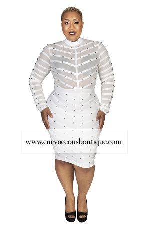 White Valentino Studded Bandage Dress