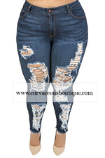 Dark Blue Vibrant Frayed Jeans