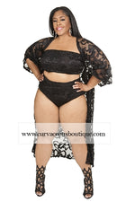 Black Winter Lace Swim Set