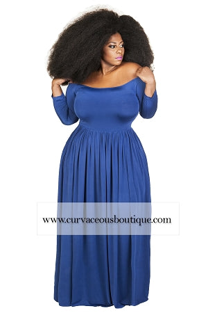 Royal Blue Bella Off Shoulder Maxi Dress