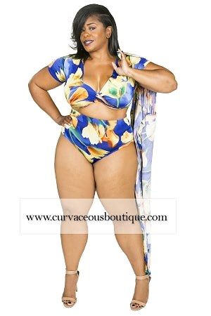 Tulips Print Robe Swim Set