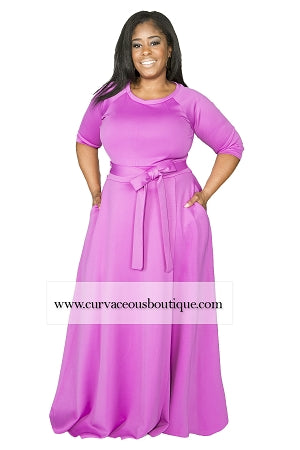 Magenta Emily Belted Gown