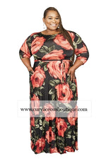 Extended Size Rose Print Gabby Maxi Dress