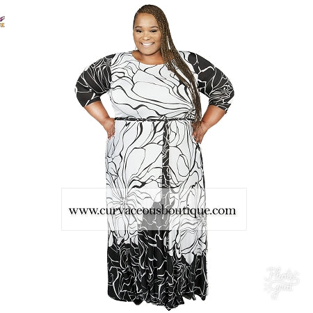 Extended Size Black Crackle Print Gabby Maxi Dress