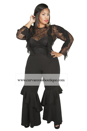 Black Salsa Ruffle Tiered Pants