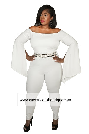 Ivory Keynon Off Shoulder Rhinestone Jumpsuit