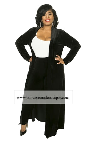 Black Summer Velvet Duster Set