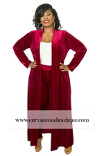 Burgundy Summer Velvet Duster Set