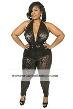 Black Terry Halter Sequin Catsuit