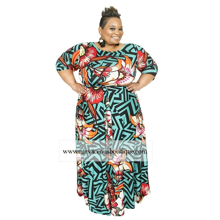 Extended Size Teal Flower Print Gabby Maxi Dress