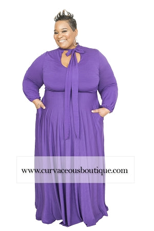 Extended Size Purple Marquis Bow Tie Maxi Dress