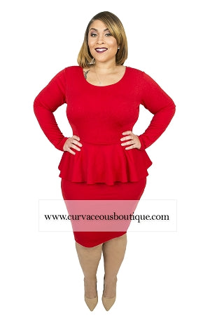 Red Texture Lin Peplum Dress